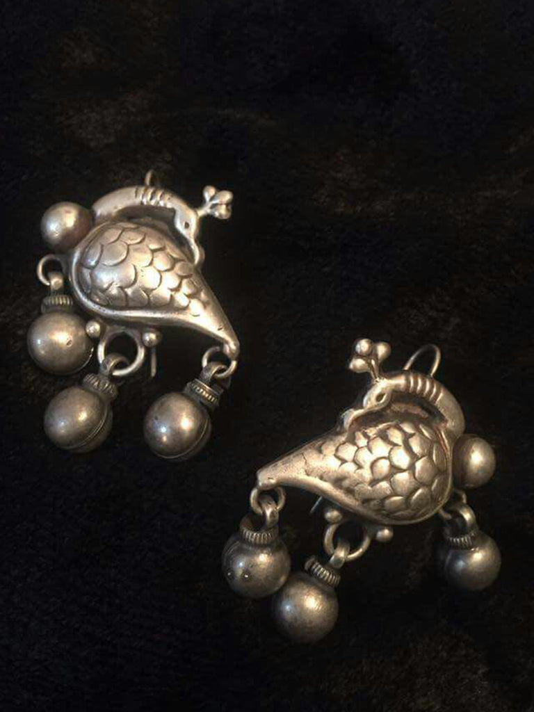 Peacock Drop Silver Earrings