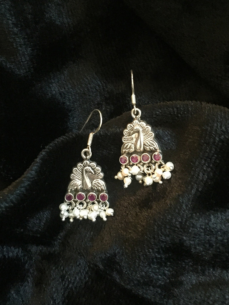Pearl Peacock Silver Earrings
