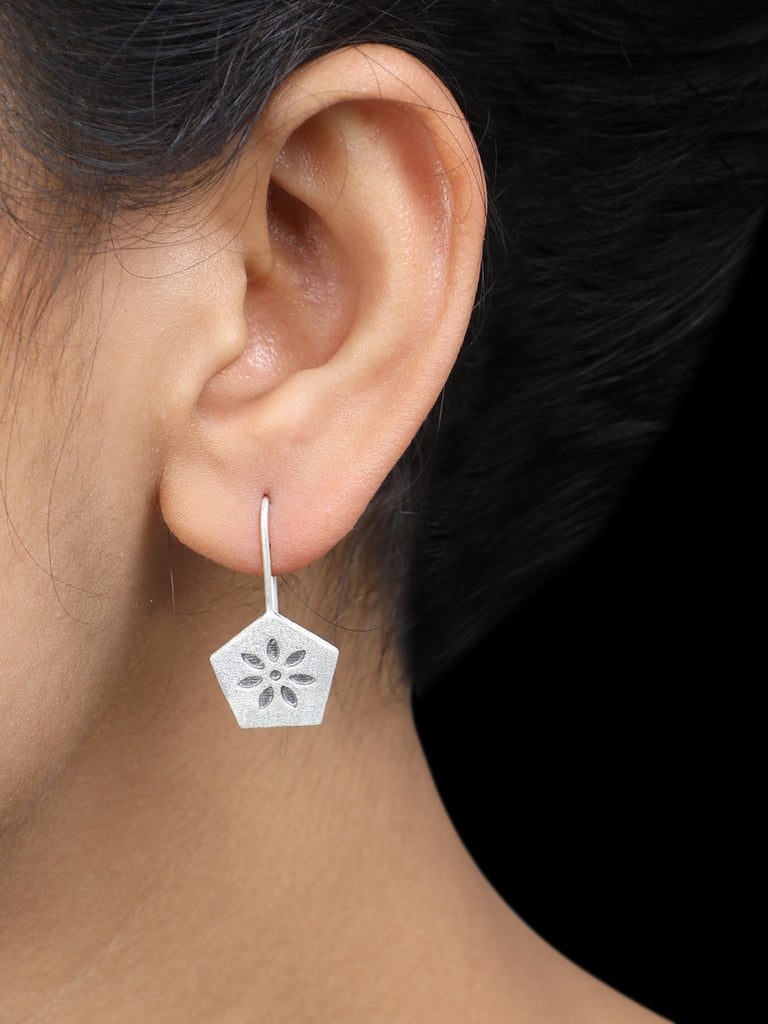 Pentagon Handcrafted Silver Earrings