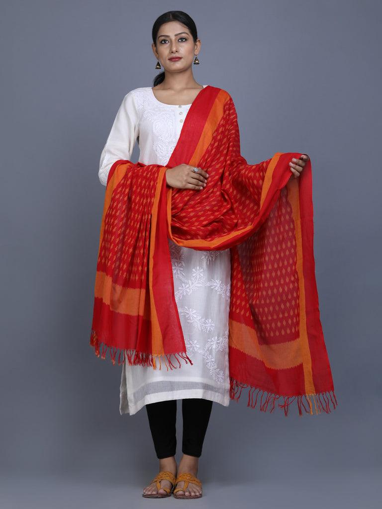 Red Peach Cotton Ikat Dupatta