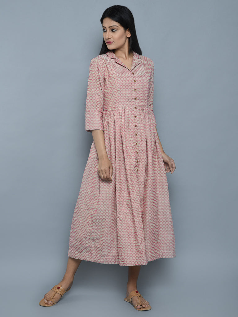 Pink Beige Cotton Jacket Style Dress
