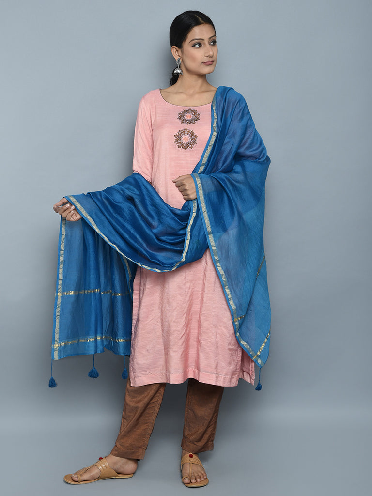 Pink Brown Blue Chanderi Cotton Suit - Set of 3