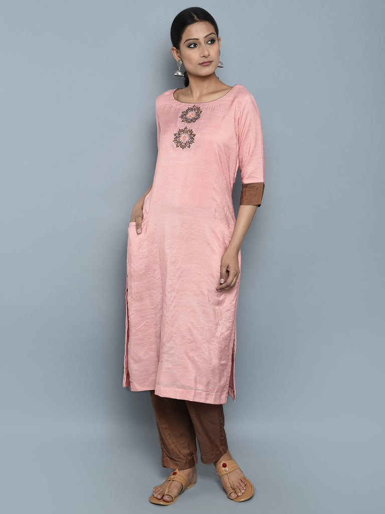 Pink Brown Chanderi Cotton Embroidered Kurta