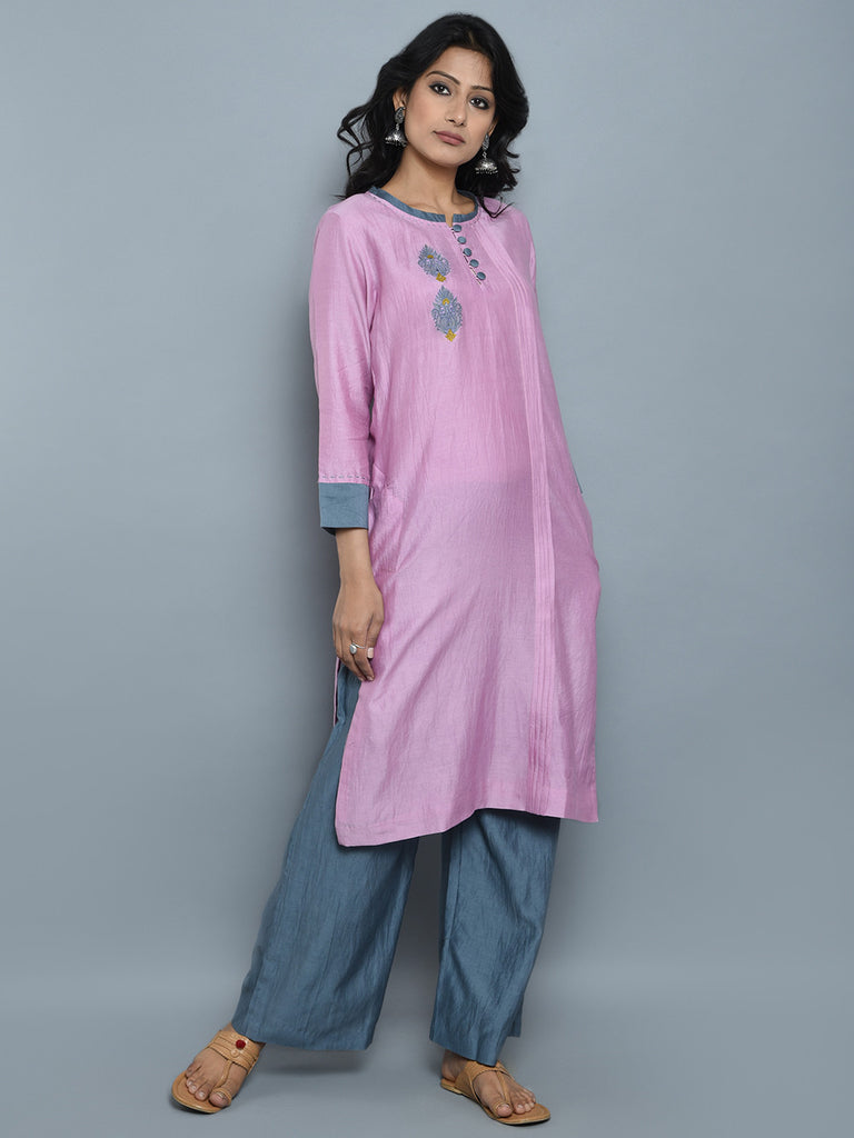 Pink Chanderi Cotton Embroidered Kurta