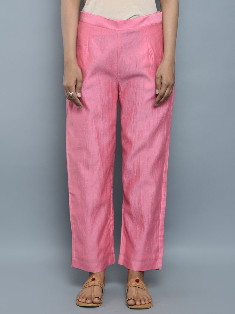 Pink Chanderi Cotton Pants