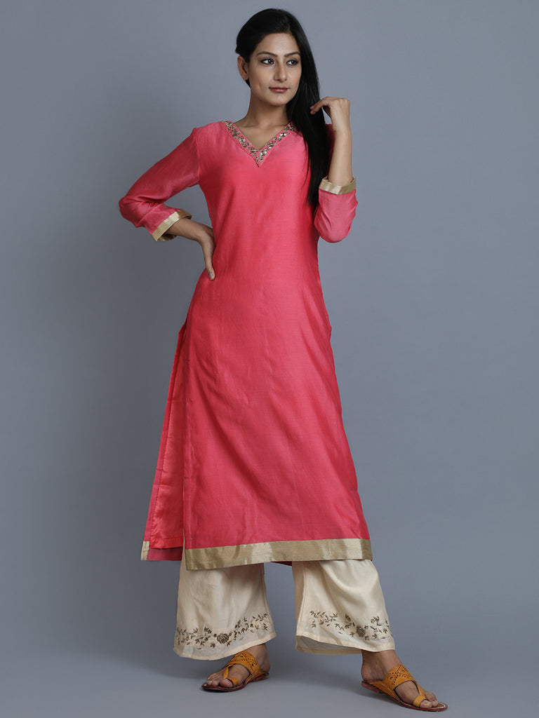 Pink Chanderi Embroidered Kurta