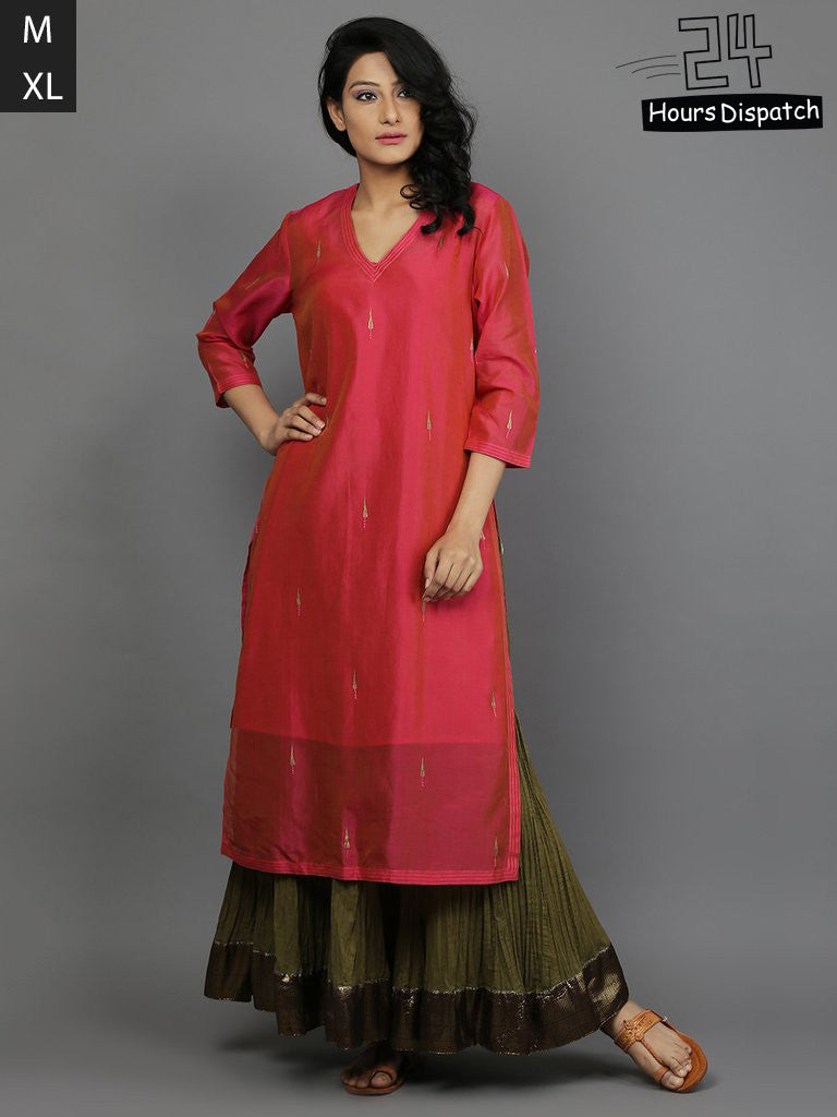 Pink Embroidered  Chanderi Kurta with Cotton Slip