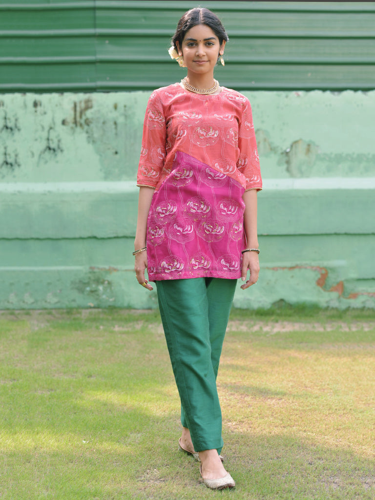 Pink Chanderi Short Tunic with Green Cotton Silk Palazzo - Set of 2