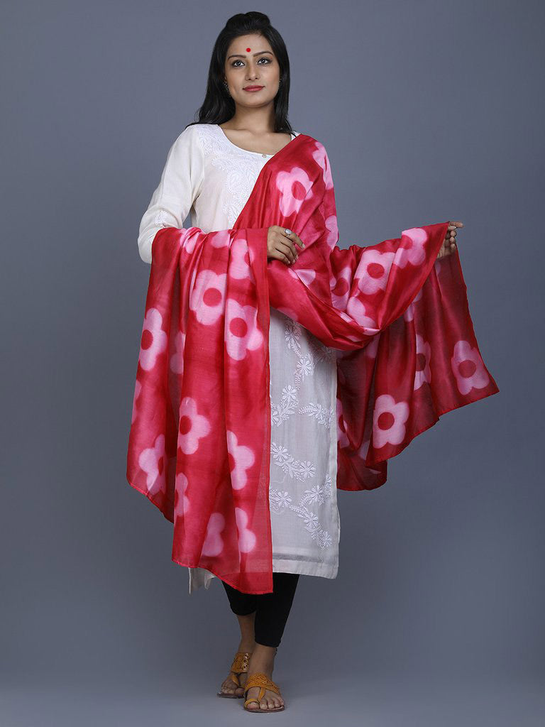 Pink Clamp Dyed Chanderi Silk Floral Dupatta