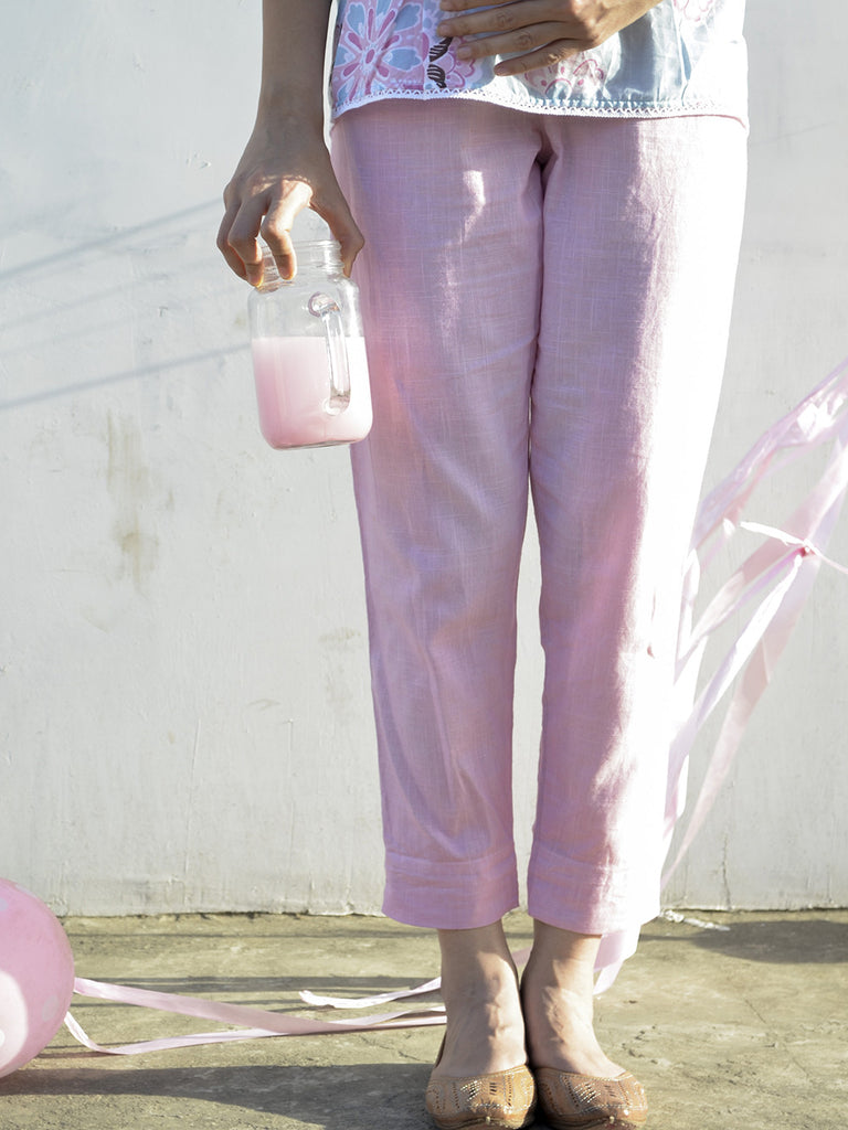 Pink Cotton Ankle Length Trousers