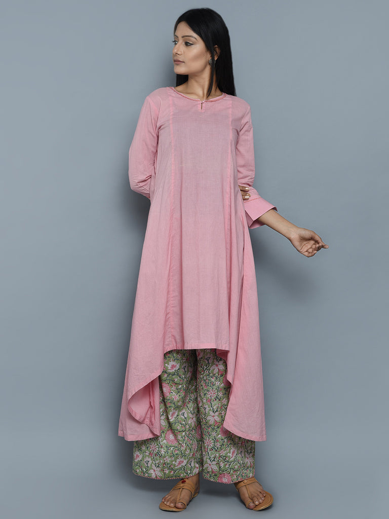 Pink Cotton High Low Kurta with Green Block Printed Palazzo - Set of 2