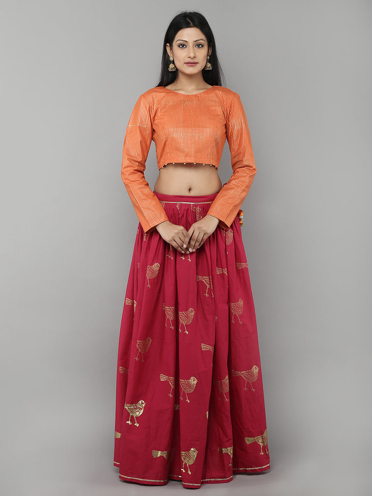 Pink Cotton Bird Printed Lehenga with Orange Unstitched Blouse - Set of 2