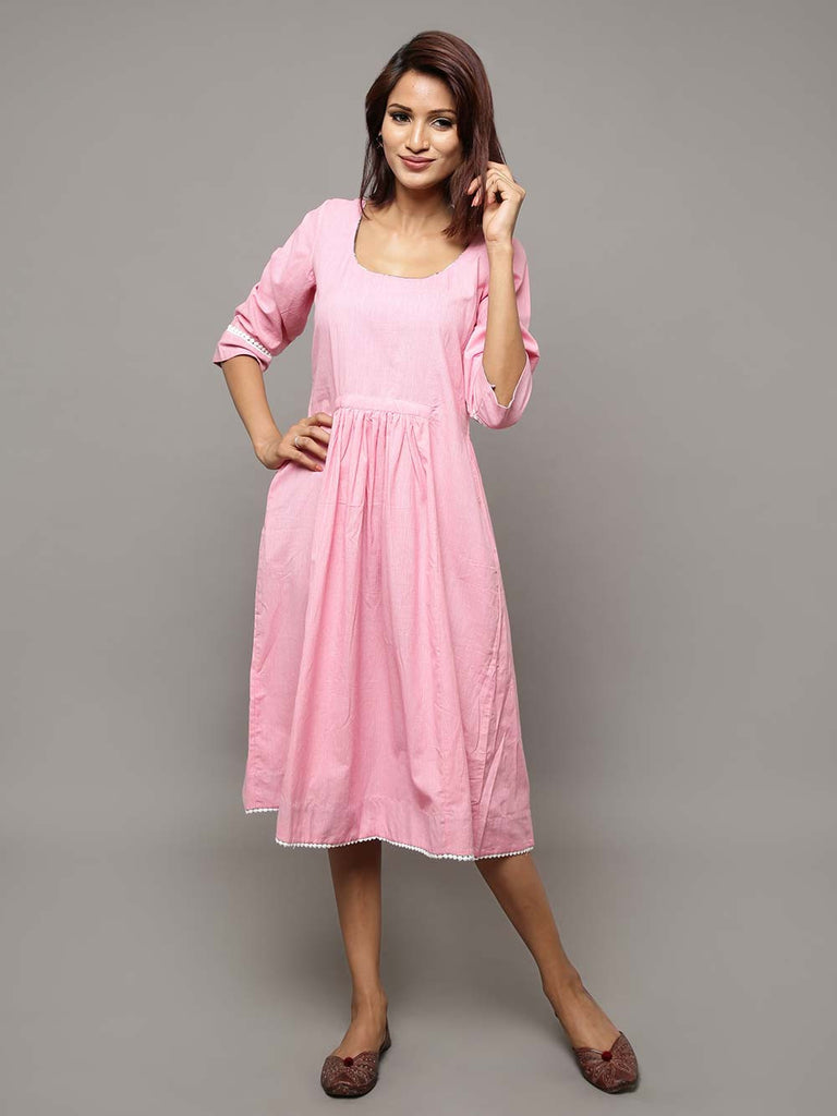 Pink Cotton Chambray Dress
