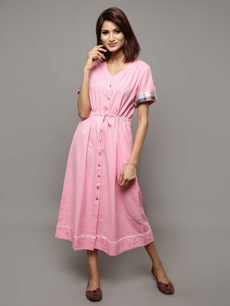 Pink Cotton Chambray Long Shirt Dress