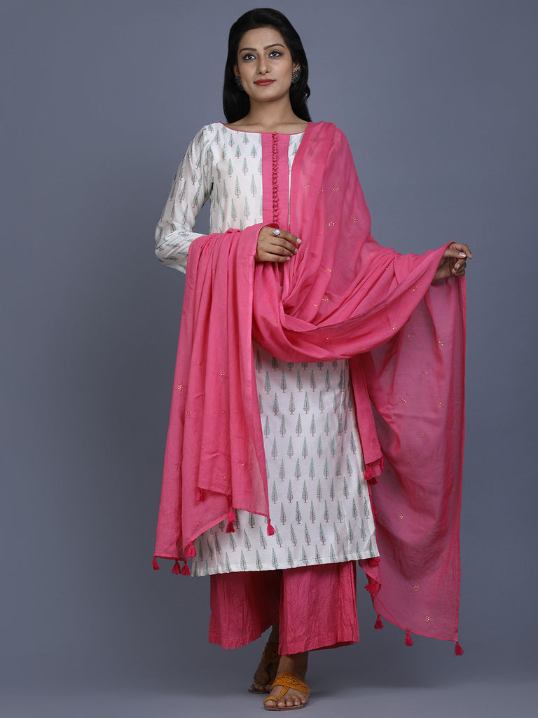 Pink Cotton Mukaish Work Dupatta
