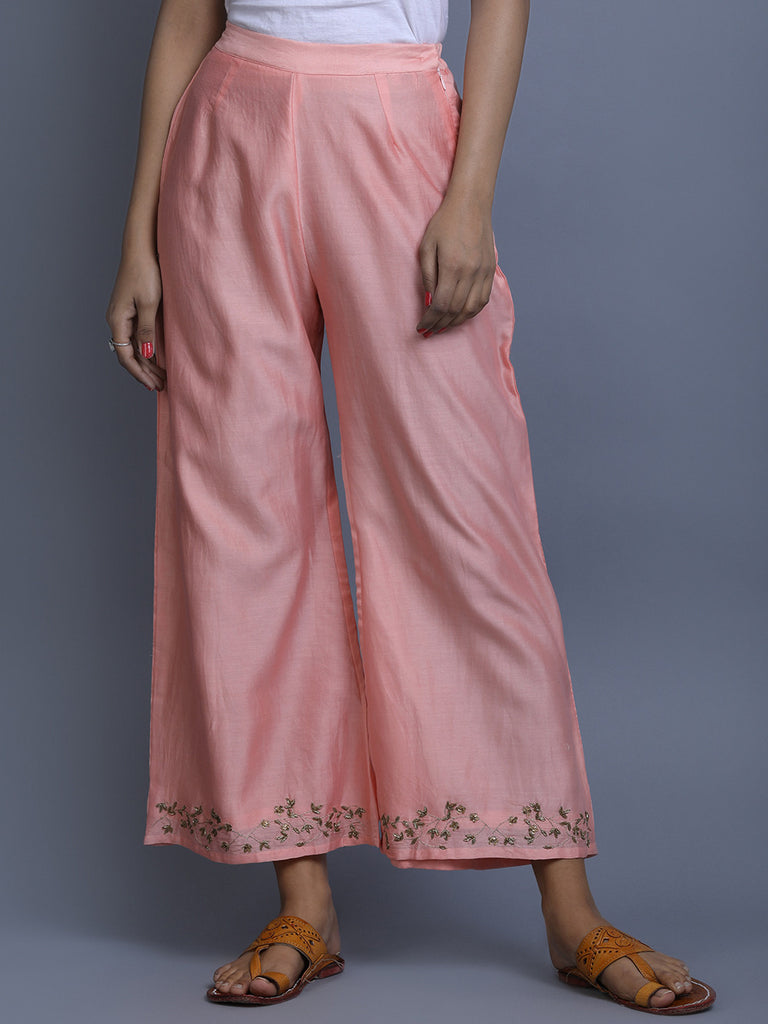 Pink Cotton Floral Embroidered Palazzo