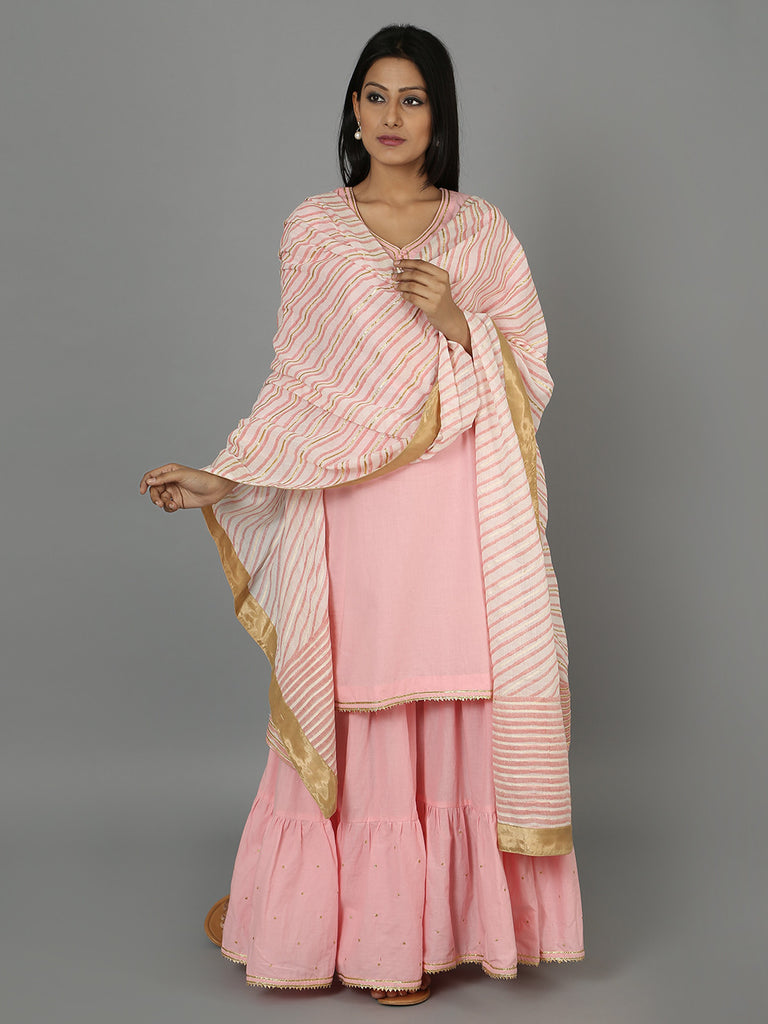 Pink Cotton Gota Dupatta