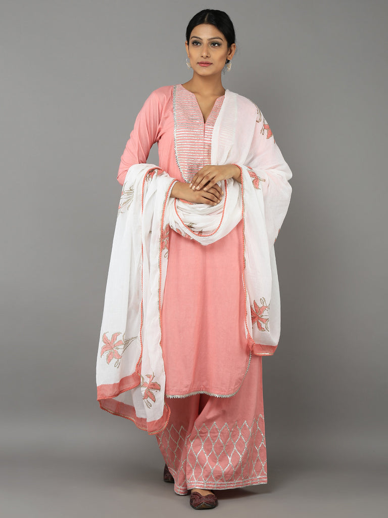 Pink Off White Cotton Gota Suit - Set of 3