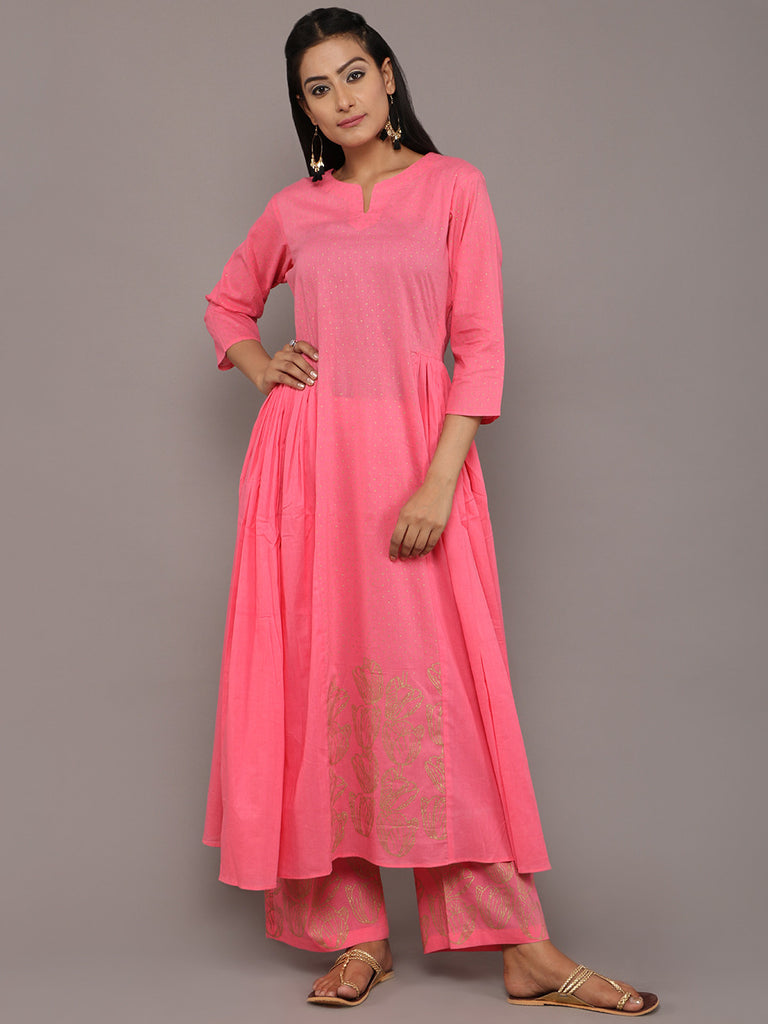 Pink Cotton Hand Block Printed Kurta
