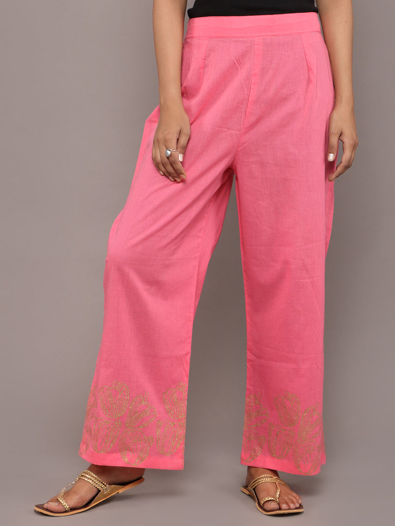 Pink Cotton Hand Block Printed Pants