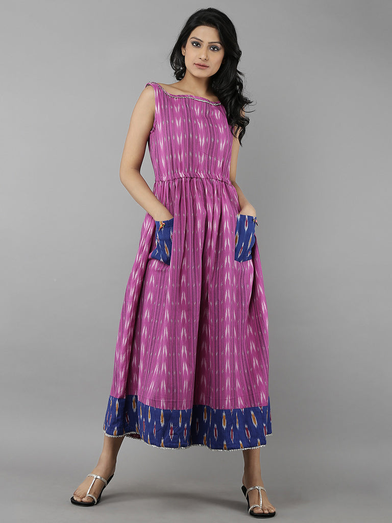 Pink Cotton Ikat Handwoven Ikat Dress