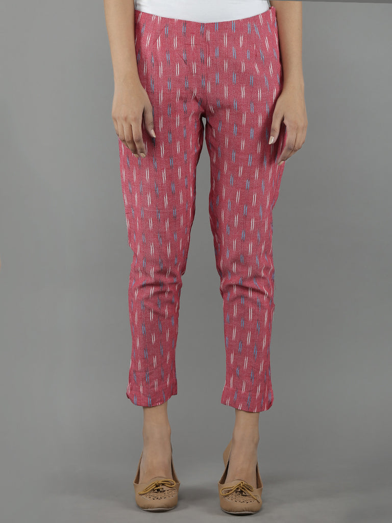 Pink Cotton Ikat Pants