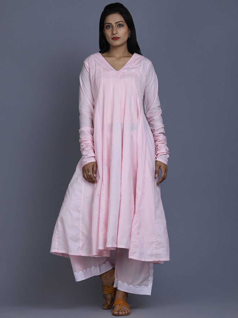 Pink Cotton Mukaish Work Kalidar Kurta