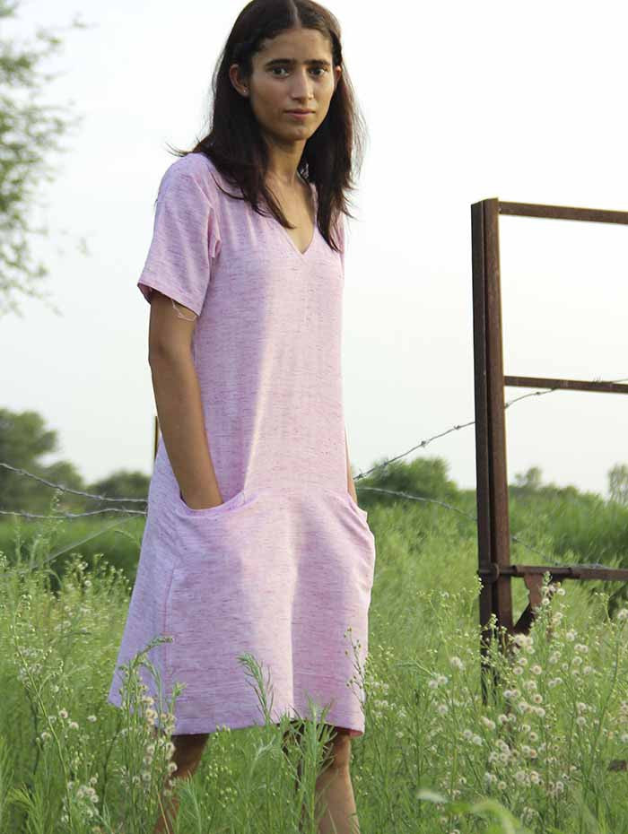 Pink Cotton Khadi Straight Dress