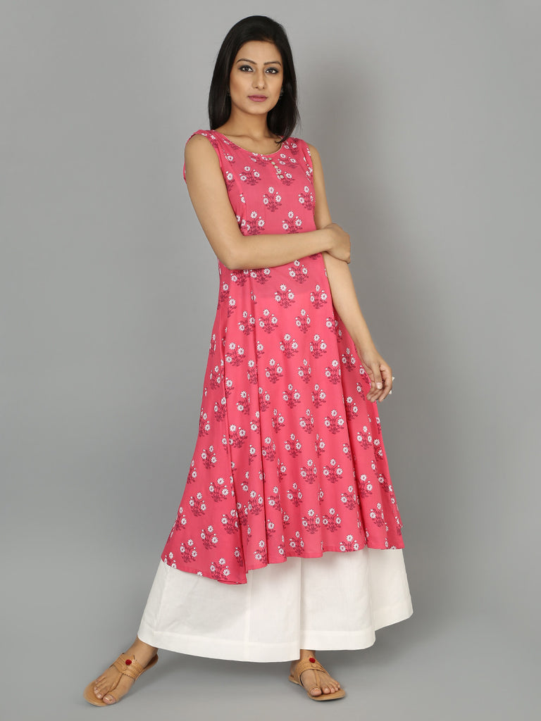 Pink Cotton Linen Anarkali