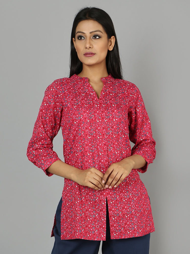 Pink Cotton Linen Kurta