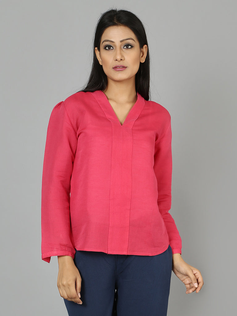 Pink Cotton Linen Top