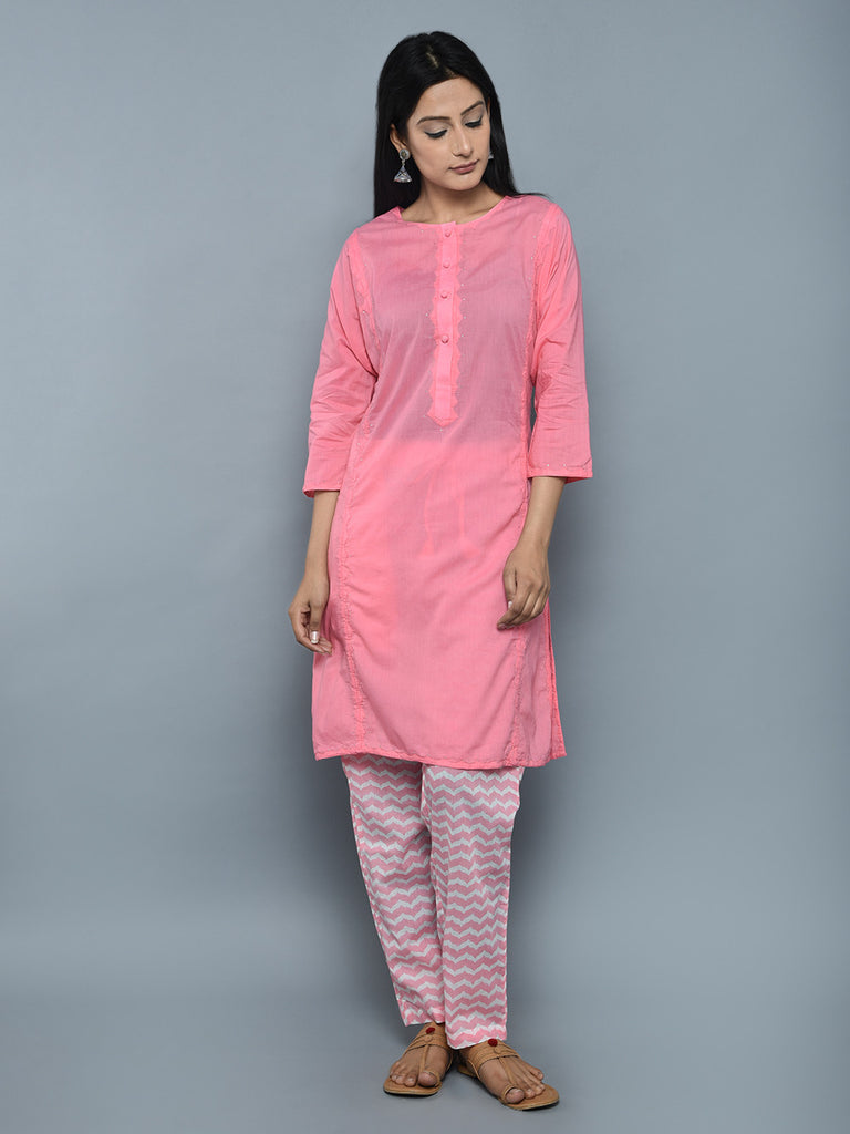 Pink Cotton Mukaish Kurta with Block Printed Pants - Set of 2