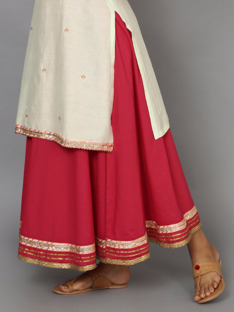 Pink Cotton Mul Lehenga Skirt