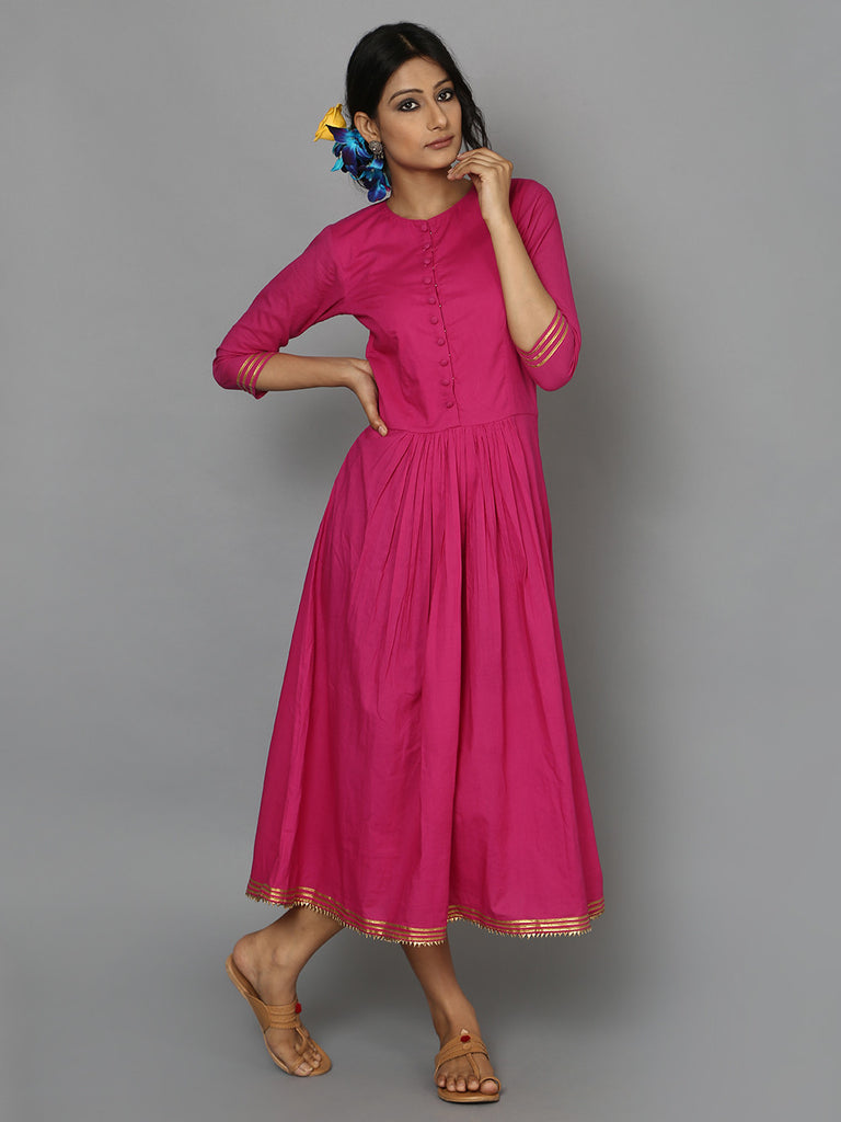 Pink Cotton Mul Maxi