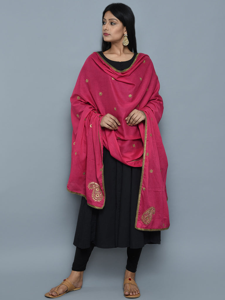 Pink Cotton Mul Zardosi Embroidered Dupatta