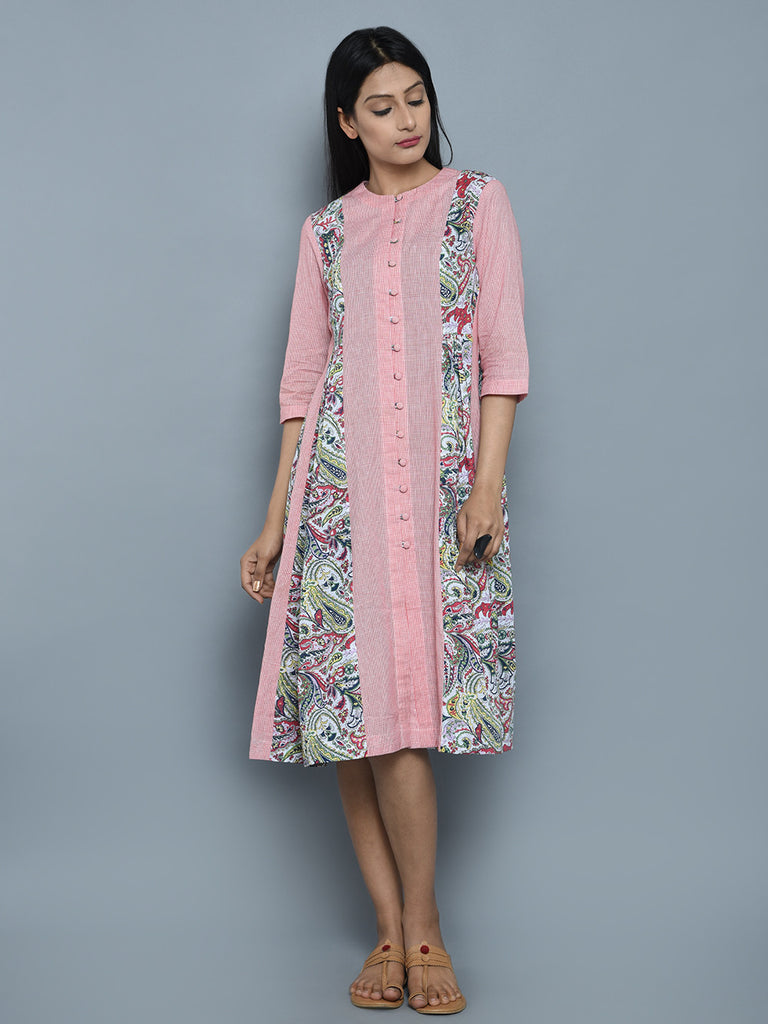 Pink Cotton Multi Color Patch Dress