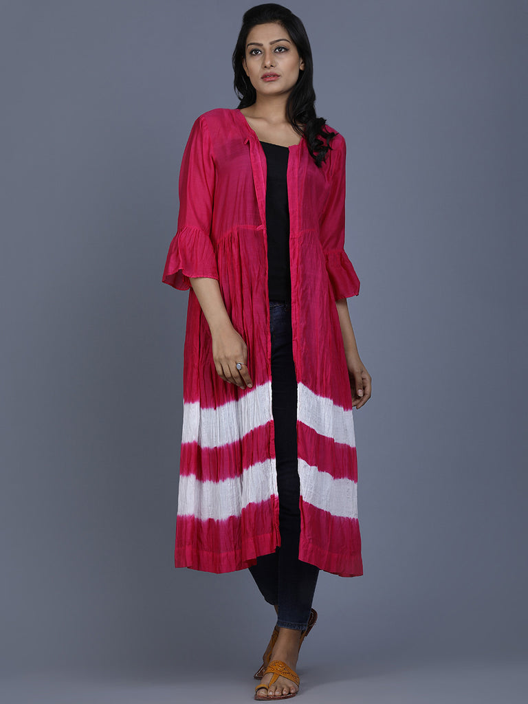 Pink Cotton Silk Batik Cape