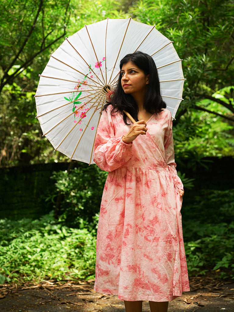 Pink Cotton Tie and Dye Kimono Dress