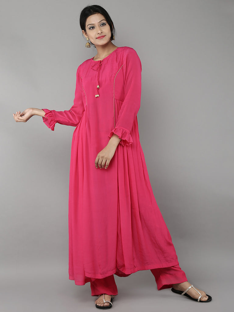 Pink Crepe Side Pleat Kurta with Pants - Set of 2