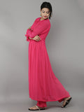 Pink Crepe Side Pleat Kurta with Pants