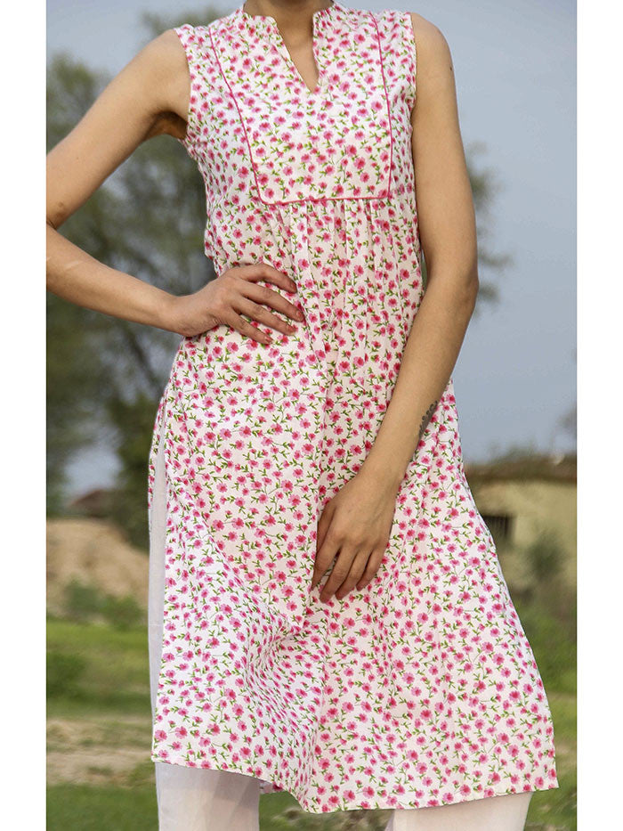 Pink Floral Printed Cotton Kurta