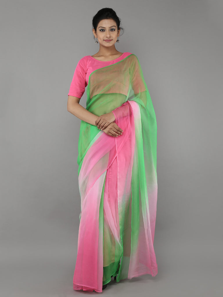 Pink Green Georgette Saree