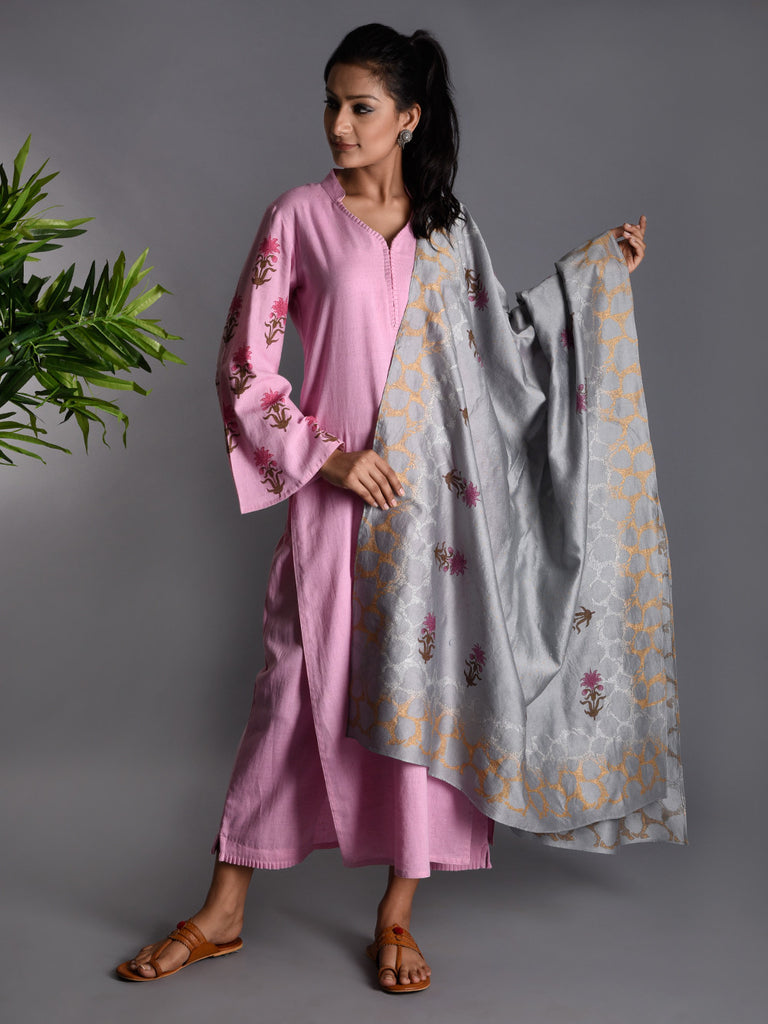 Pink Grey Block Printed Khadi Kurta and Pants with Chanderi Dupatta - Set of 3