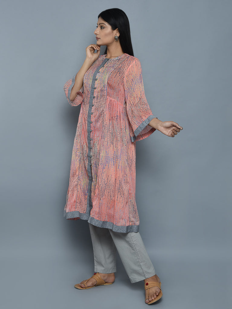 Pink Grey Cotton Tunic