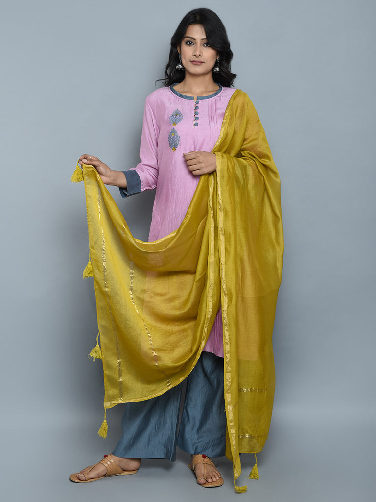Pink Grey Mustard Chanderi Cotton Suit - Set of 3