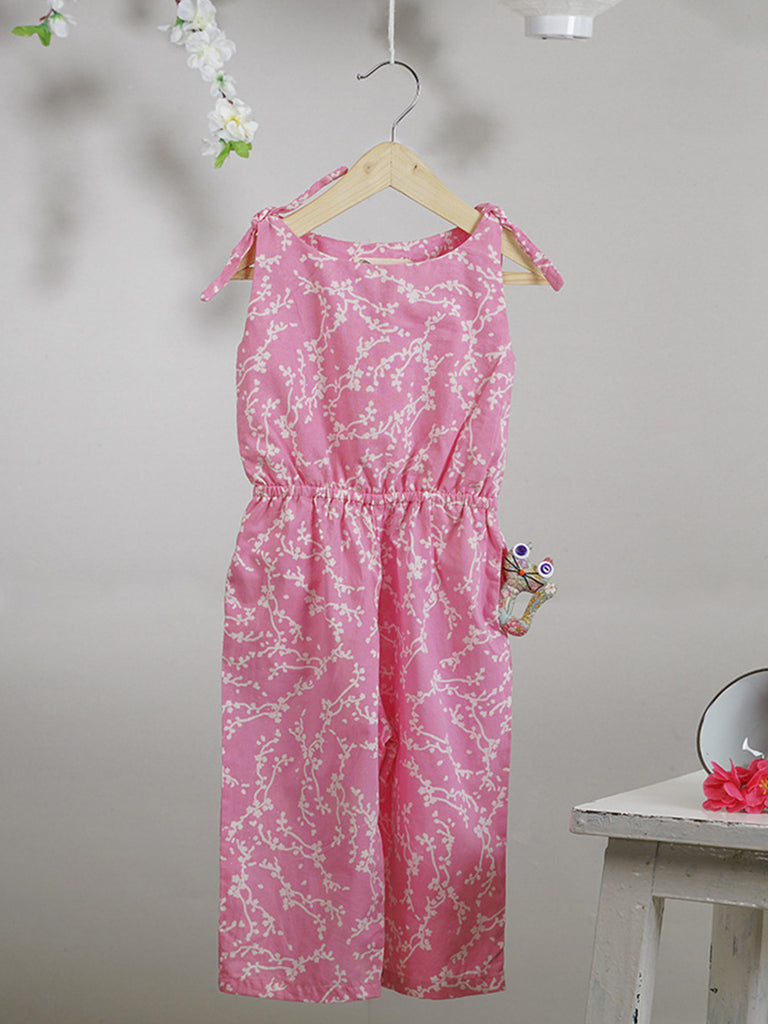 Pink Hand Block Printed Cotton Jumpsuit