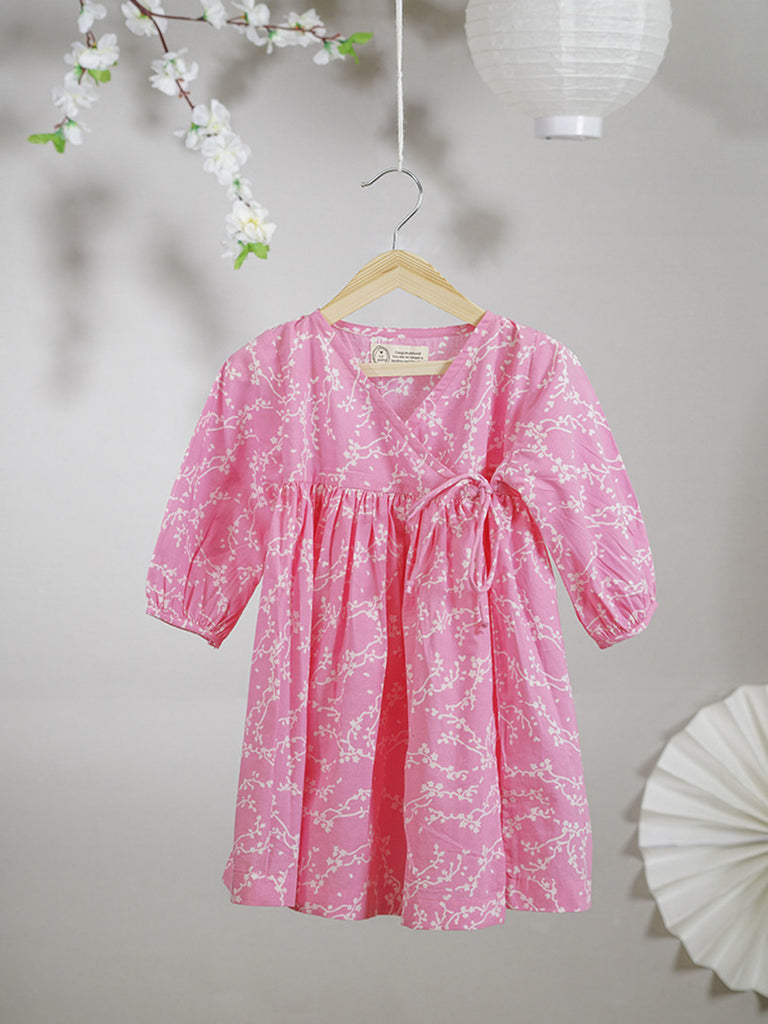 Pink Hand Block Printed Cotton Kimono Dress
