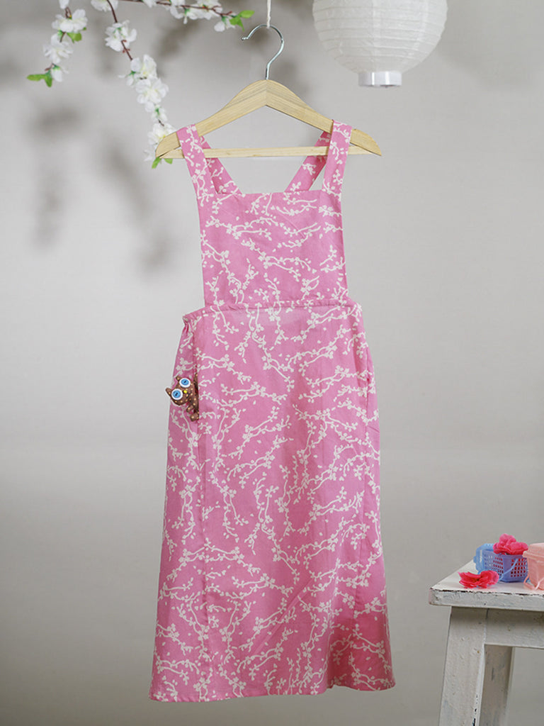 Pink Hand Block Printed Cotton Paneled Pinafore Maxi Dress