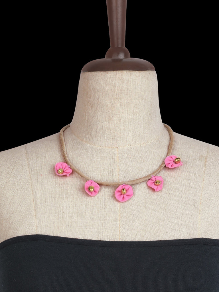 Beige Pink Hand Crafted Floral Ghungroo Choker