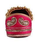 Pink Hand Embroidered Leather Mojari